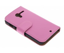 Roze effen booktype hoes Motorola Moto X