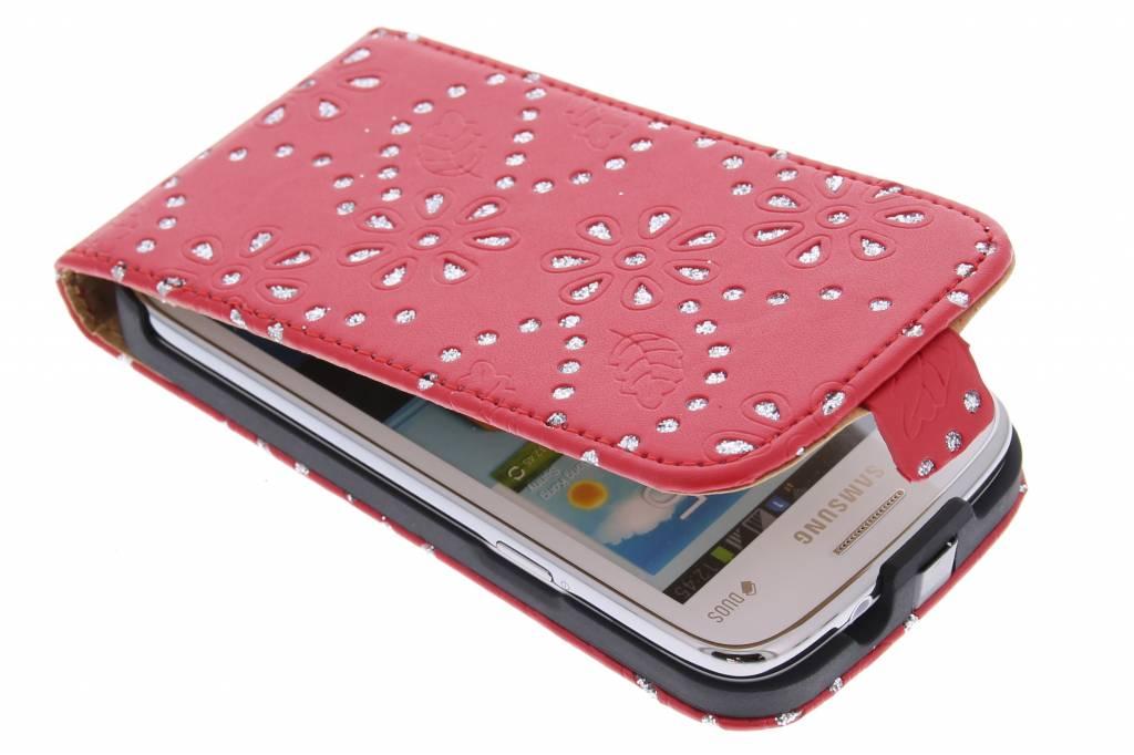 Rode bloemblad design flipcase voor de Samsung Galaxy Core