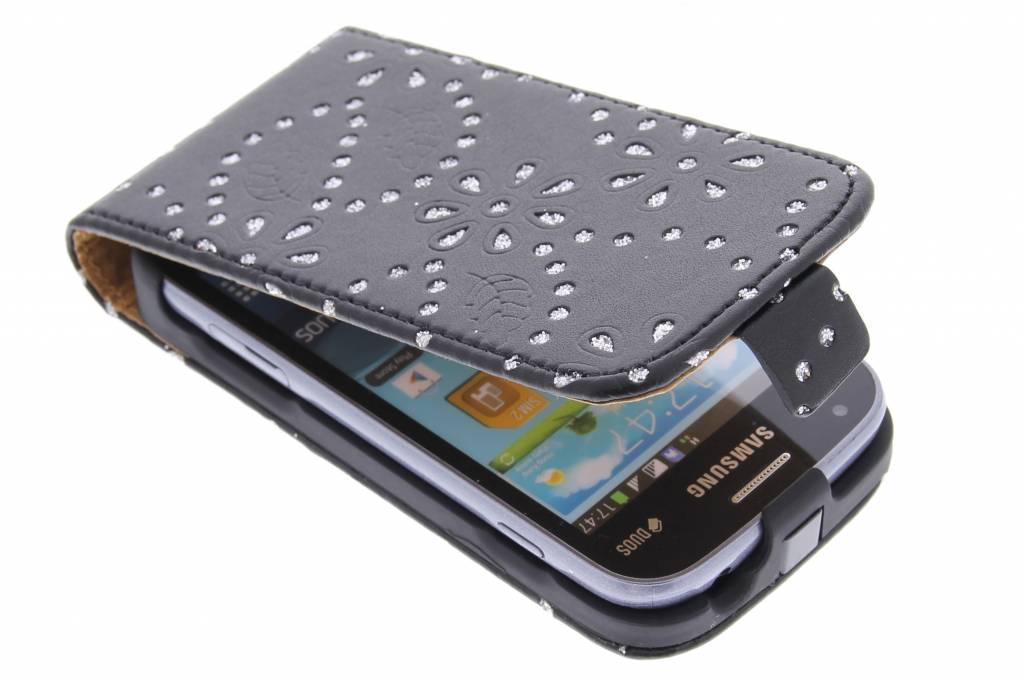 Zwart bloemblad design flipcase voor de Samsung Galaxy S Duos / Trend (Plus)