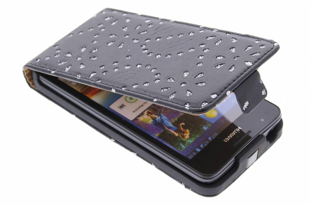 Zwarte bloemblad design flipcase voor de Huawei Ascend G510