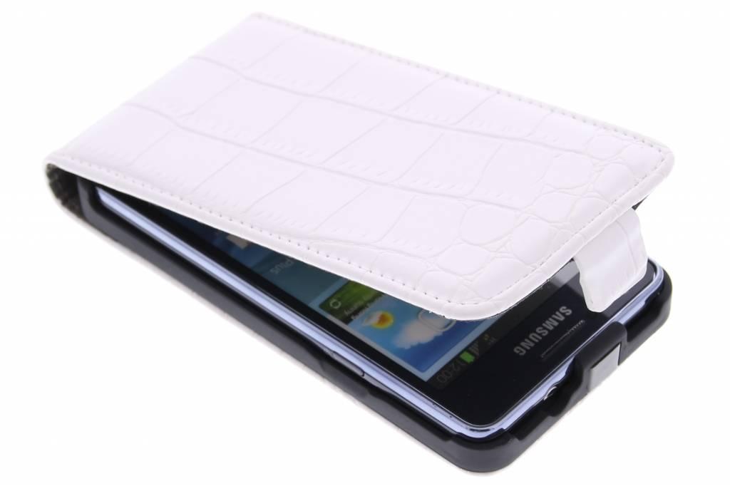 Witte krokodil design flipcase voor de Samsung Galaxy S2 (Plus)