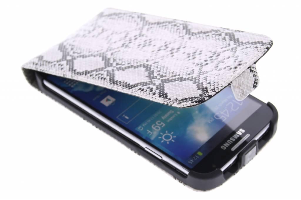 Witte slangenprint flipcase voor de Samsung Galaxy S4