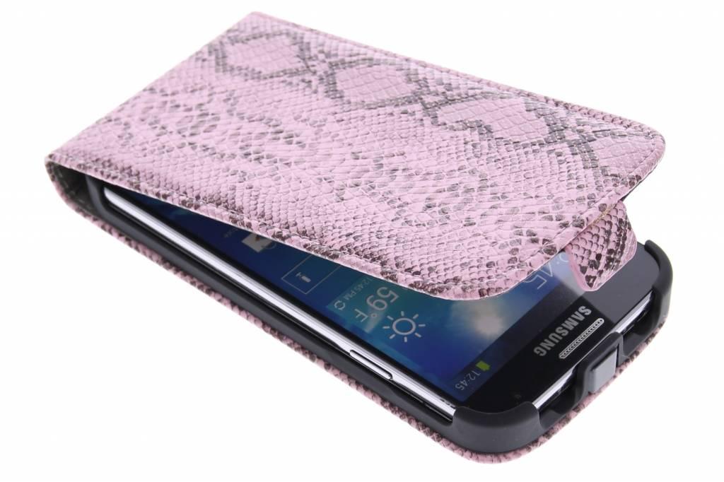 Roze slangenprint flipcase voor de Samsung Galaxy S4