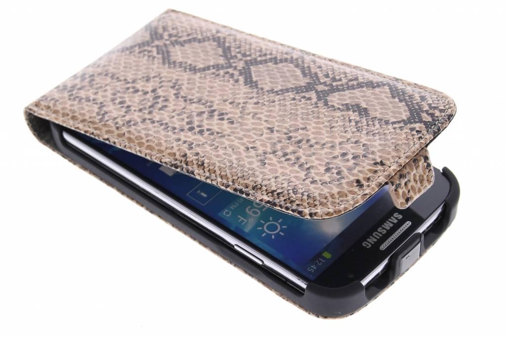 Bruine slangenprint flipcase voor de Samsung Galaxy S4