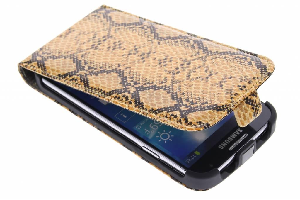 Cognac slangenprint flipcase voor de Samsung Galaxy S4