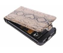 Bruin slangenprint flipcase HTC One