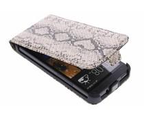 Beige slangenprint flipcase HTC One