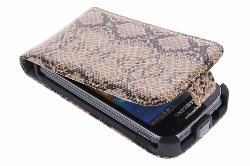 Bruine slangenprint flipcase voor de Samsung Galaxy Ace 2