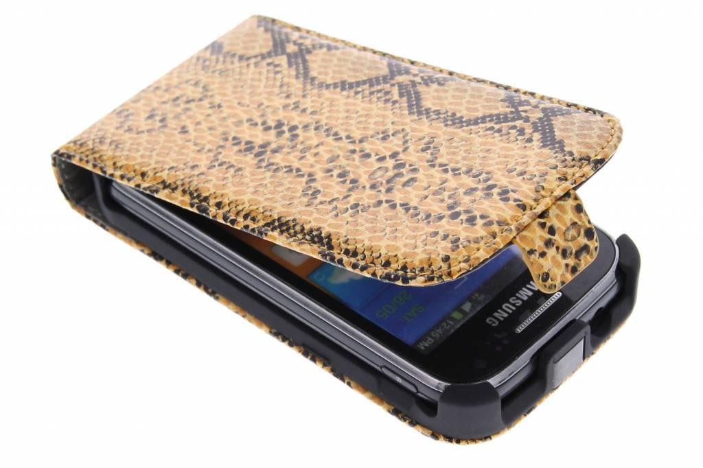 Cognac slangenprint flipcase voor de Samsung Galaxy Ace 2