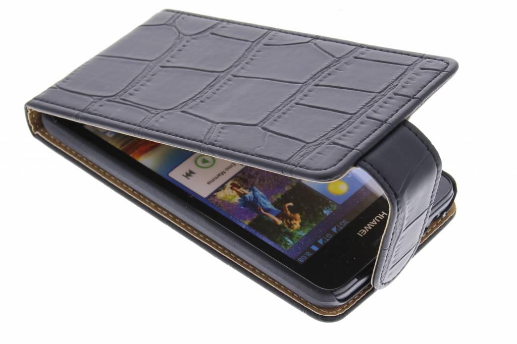 Zwarte krokodil flipcase voor de Huawei Ascend G510