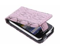 Roze slangenprint flipcase Samsung Galaxy Ace