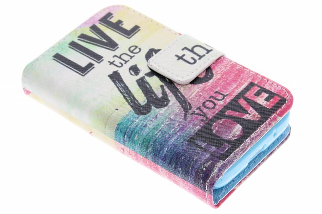 Live the life design TPU booktype hoes voor de Samsung Galaxy Young 2