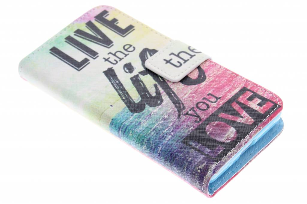 Live the life design TPU booktype hoes voor de Samsung Galaxy Core 2
