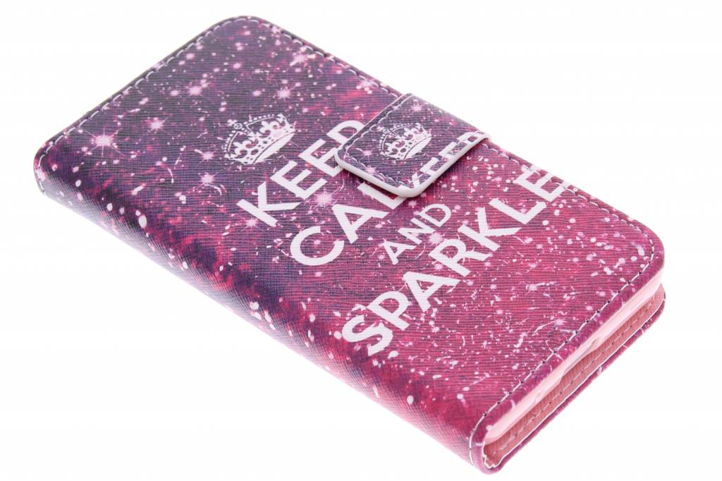 Keep Calm and Sparkle design TPU booktype hoes voor de Samsung Galaxy Core 2
