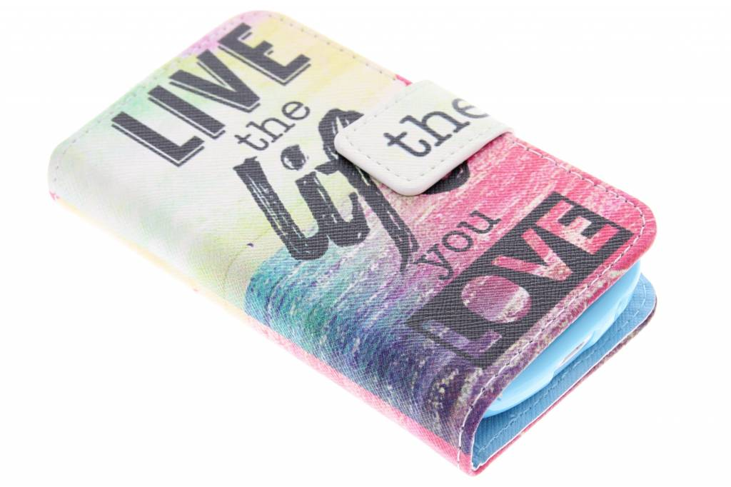 Live the life design TPU booktype hoes voor de Samsung Galaxy Fame