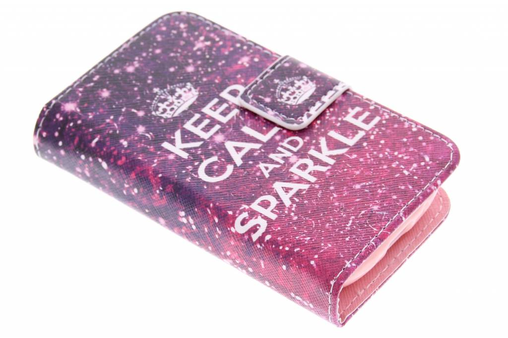 Keep Calm and Sparkle design TPU booktype hoes voor de Samsung Galaxy Young
