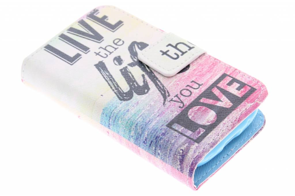 Live the Life design TPU booktype hoes voor de Samsung Galaxy Young