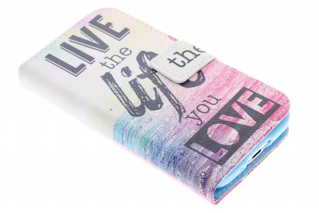 Live the life design TPU booktype hoes voor de Samsung Galaxy S5 Mini