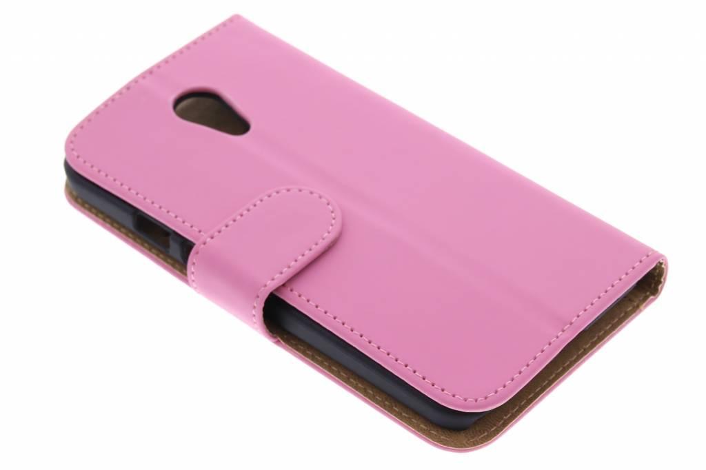 Roze effen booktype hoes voor de Motorola Moto G 2nd Gen 2014