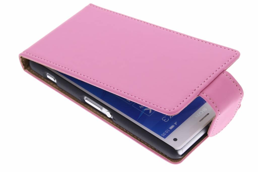 Roze classic flipcase voor de Sony Xperia Z3 Compact