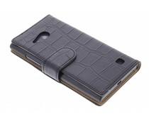 Zwart krokodillen booktype hoes Nokia Lumia 730 / 735