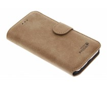 Bruin luxe suède booktype hoes iPhone 6 / 6s