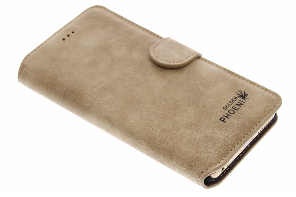 Khaki luxe suède booktype hoes voor de iPhone 6(s) Plus