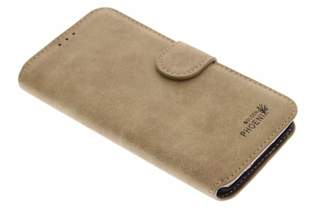Khaki luxe suède booktype hoes voor de Samsung GalaxyS5 (Plus) / Neo