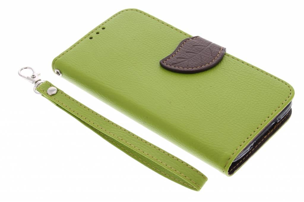Groene blad design TPU booktype hoes voor de Samsung Galaxy S5 (Plus) / Neo