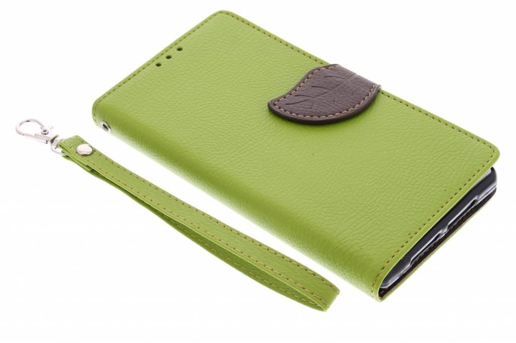 Groene blad design TPU booktype hoes voor de Sony Xperia Z1