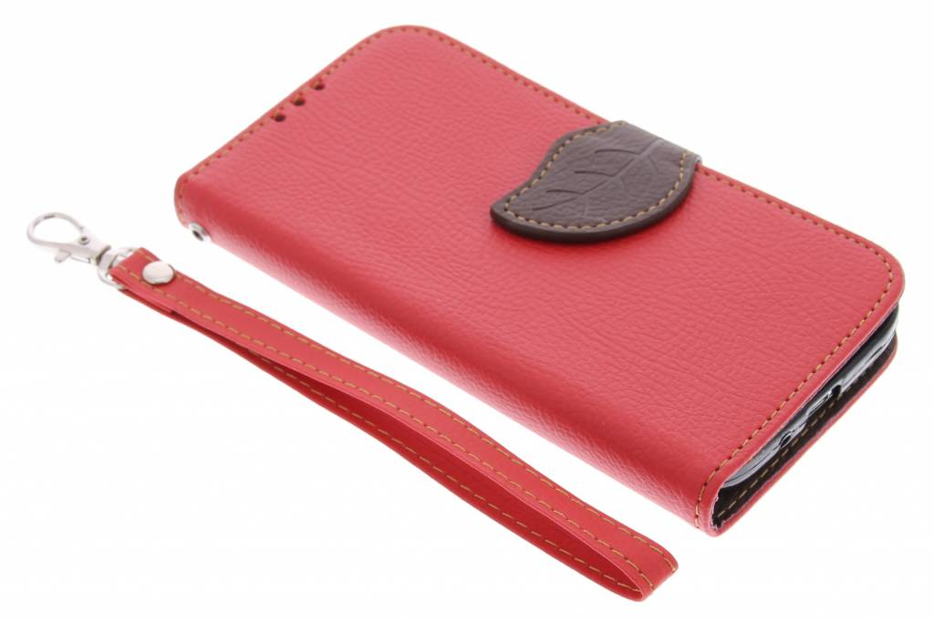 Rode blad design TPU booktype hoes voor de Samsung Galaxy S4