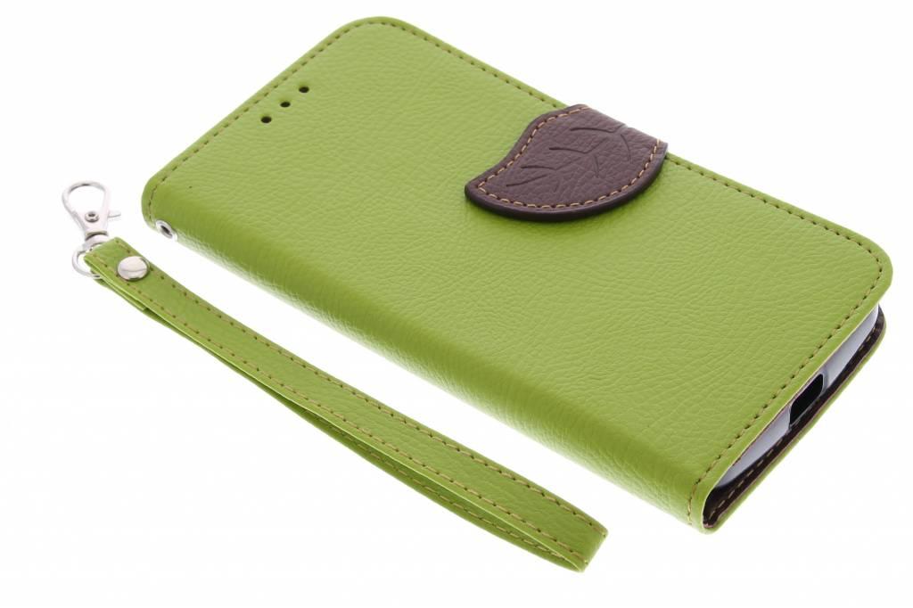 Groene blad design TPU booktype hoes voor de Motorola Moto G 2nd Gen 2014