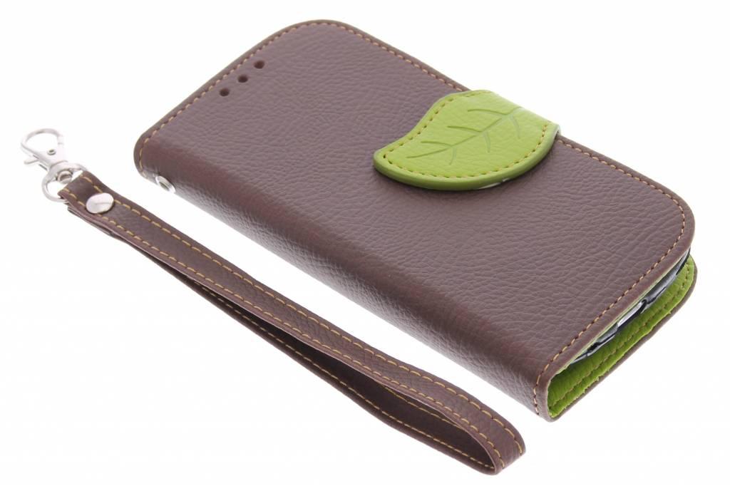 Bruine blad design TPU booktype hoes voor de Samsung Galaxy S3 Mini