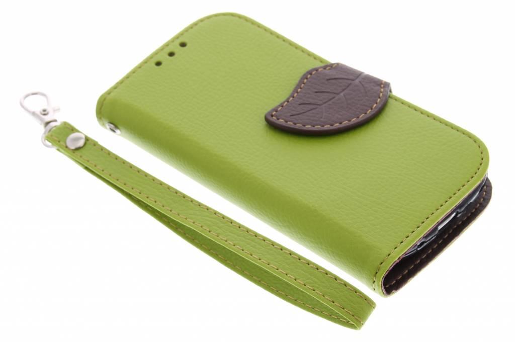 Groene blad design TPU booktype hoes voor de Samsung Galaxy S3 Mini