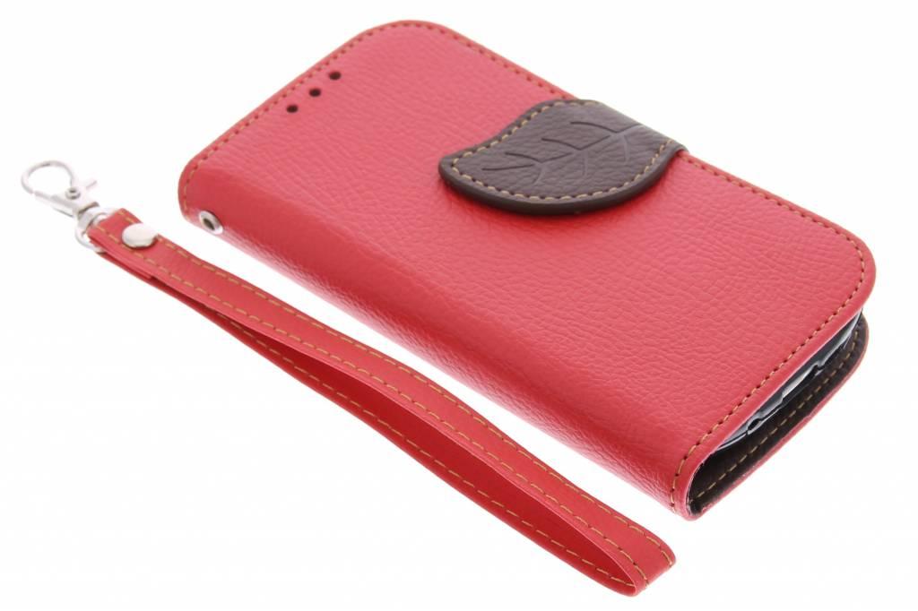 Rode blad design TPU booktype hoes voor de Samsung Galaxy S3 Mini