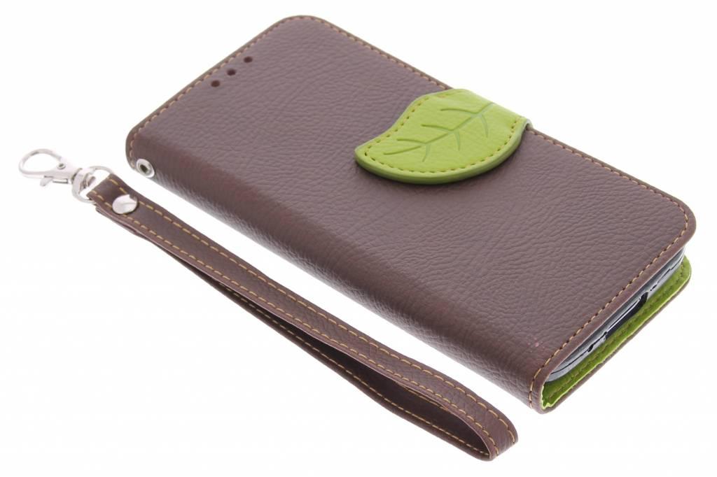 Bruine blad design TPU booktype hoes voor de Samsung Galaxy S5 Mini