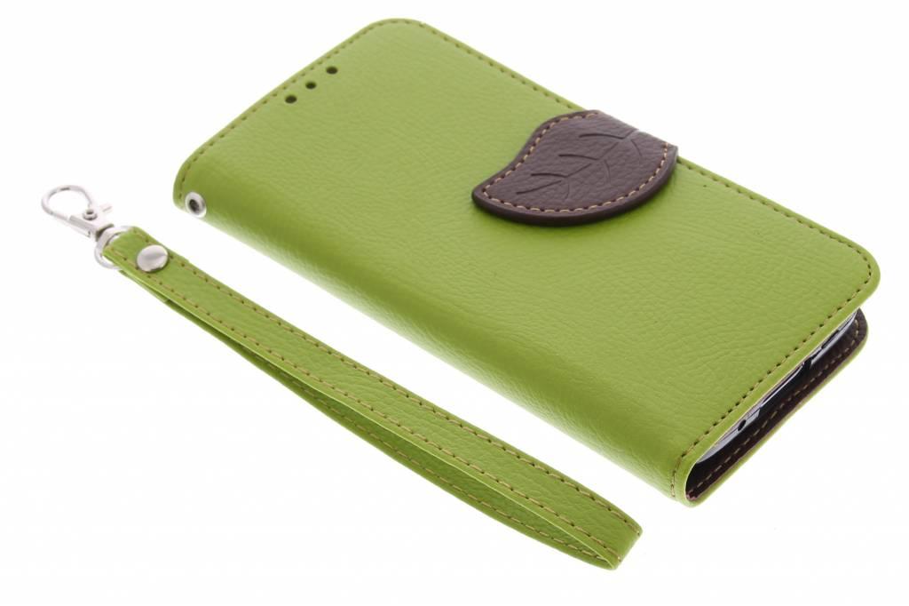 Groene blad design TPU booktype hoes voor de Samsung Galaxy S5 Mini