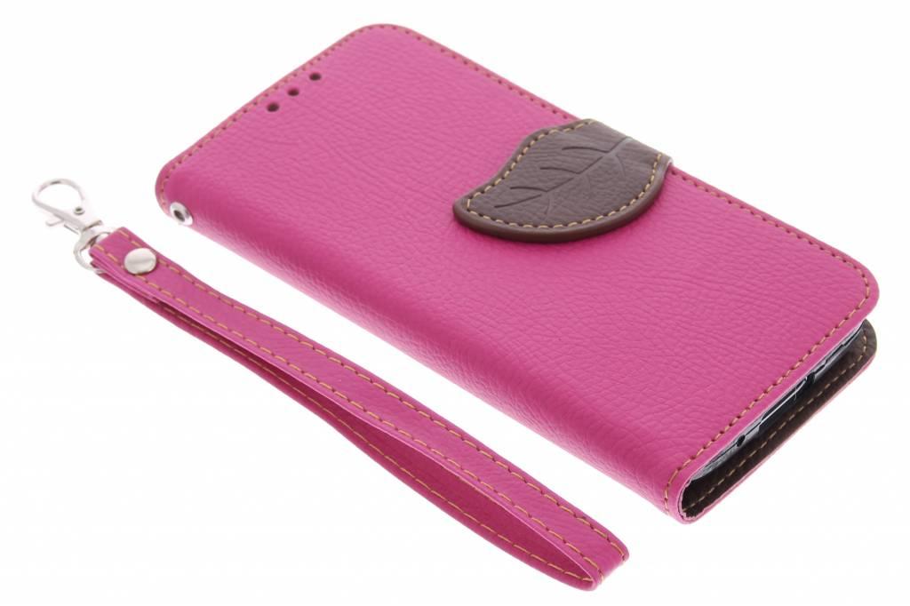 Fuchsia blad design TPU booktype hoes voor de Samsung Galaxy S5 Mini