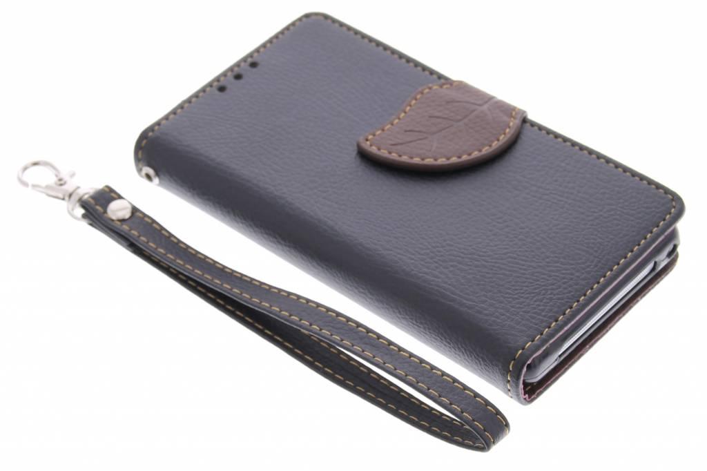 Zwarte blad design TPU booktype hoes voor de Sony Xperia Z1 Compact