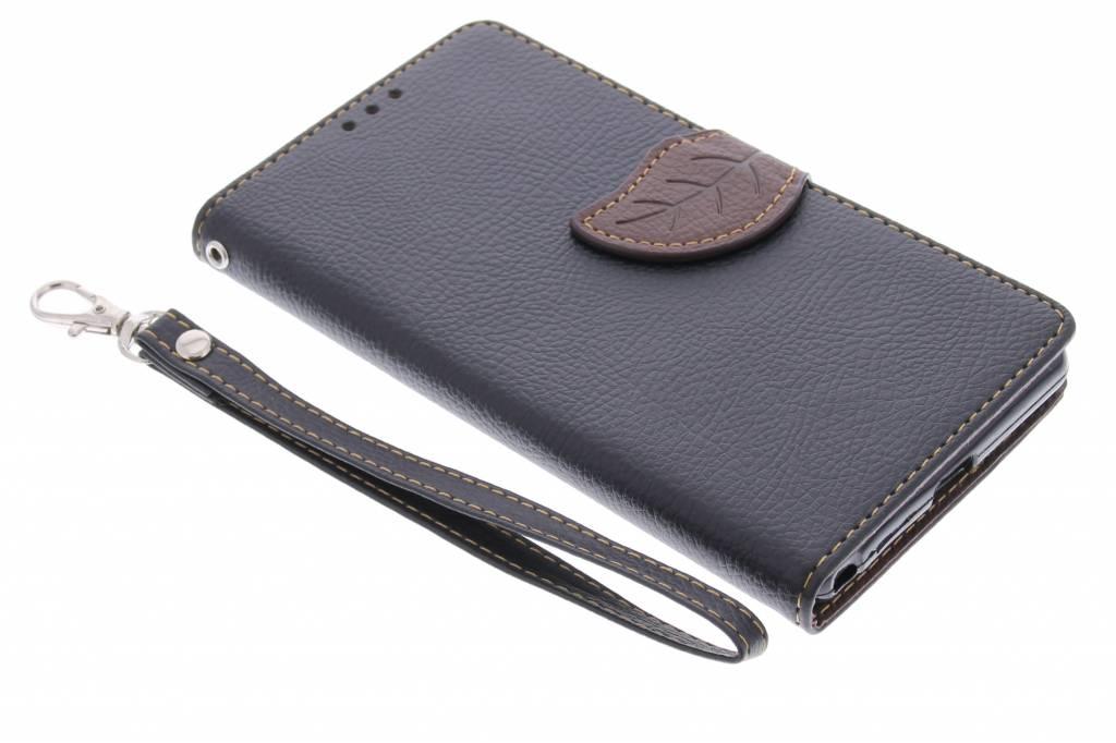 Zwarte blad design TPU booktype hoes voor de Sony Xperia Z2