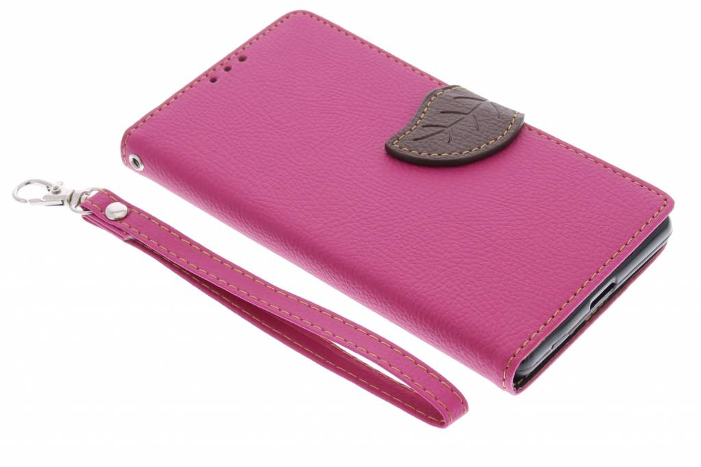 Fuchsia blad design TPU booktype hoes voor de Sony Xperia Z2