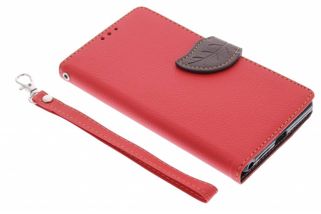 Rode blad design TPU booktype hoes voor de Sony Xperia Z2