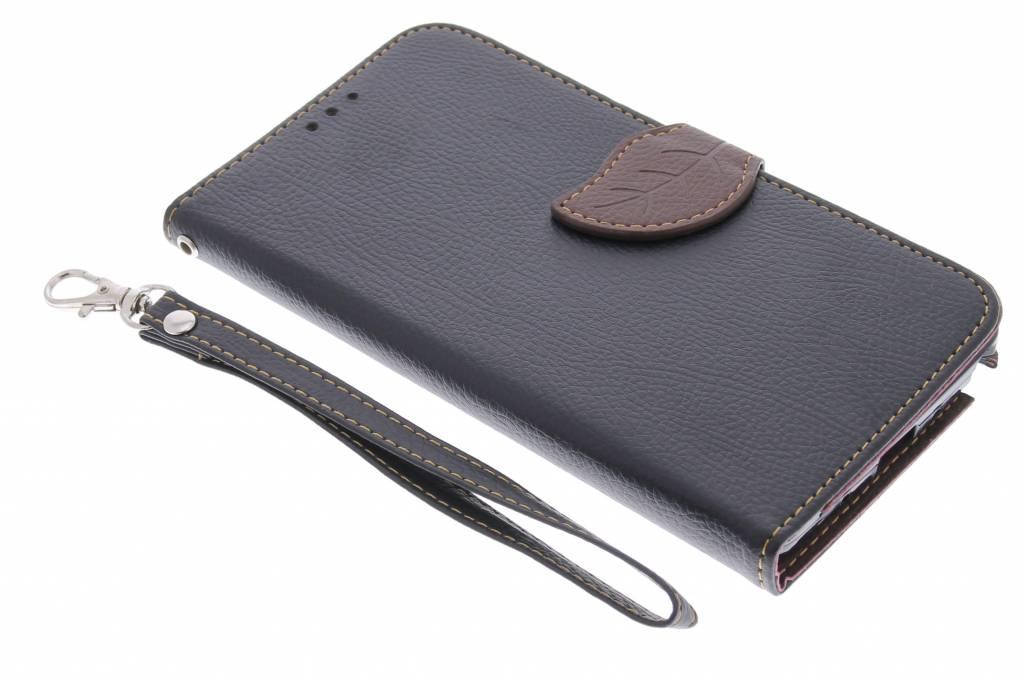 Zwarte blad design TPU booktype hoes voor de Samsung Galaxy Note 4