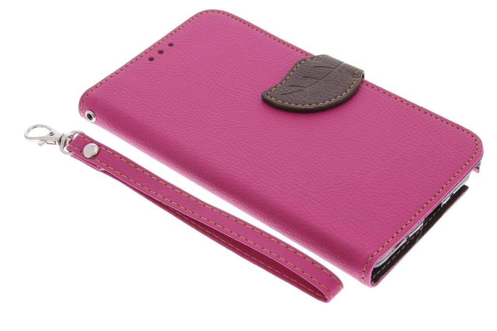 Roze blad design TPU booktype hoes voor de Samsung Galaxy Note 4