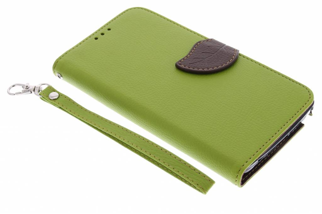 Groene blad design TPU booktype hoes voor de Samsung Galaxy Note 4