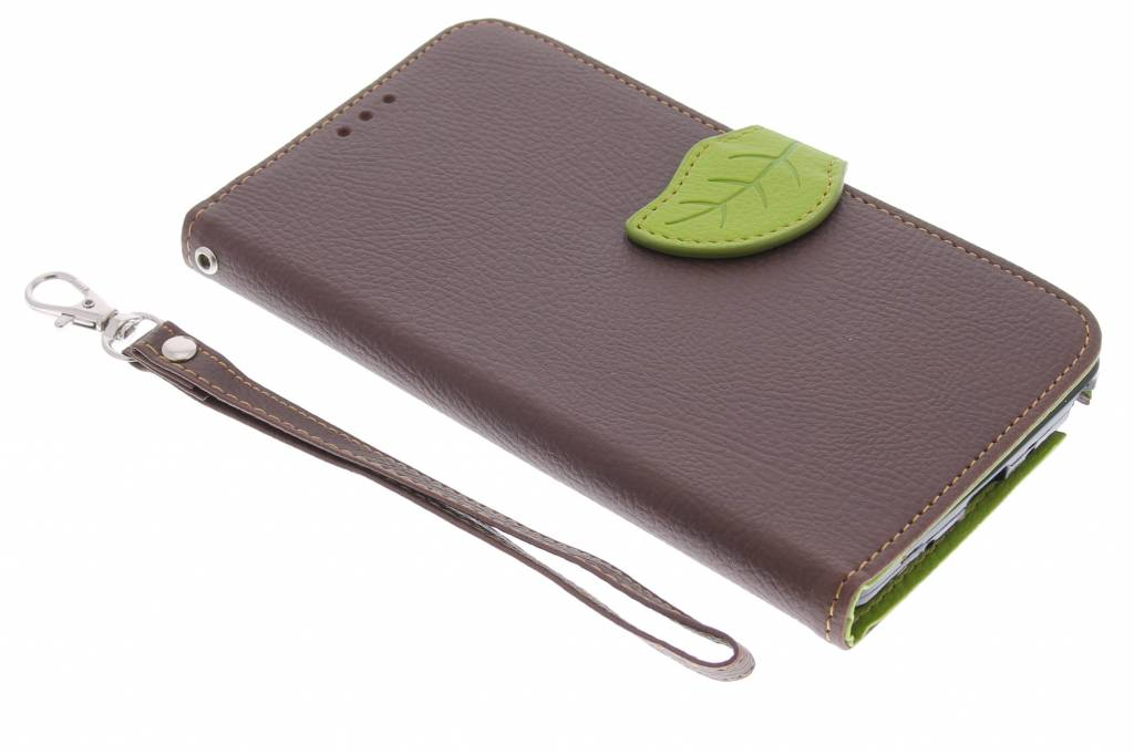 Bruine blad design TPU booktype hoes voor de Samsung Galaxy Note 4