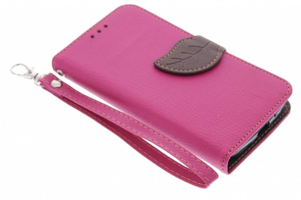 Roze blad design TPU booktype hoes voor de Motorola Moto G