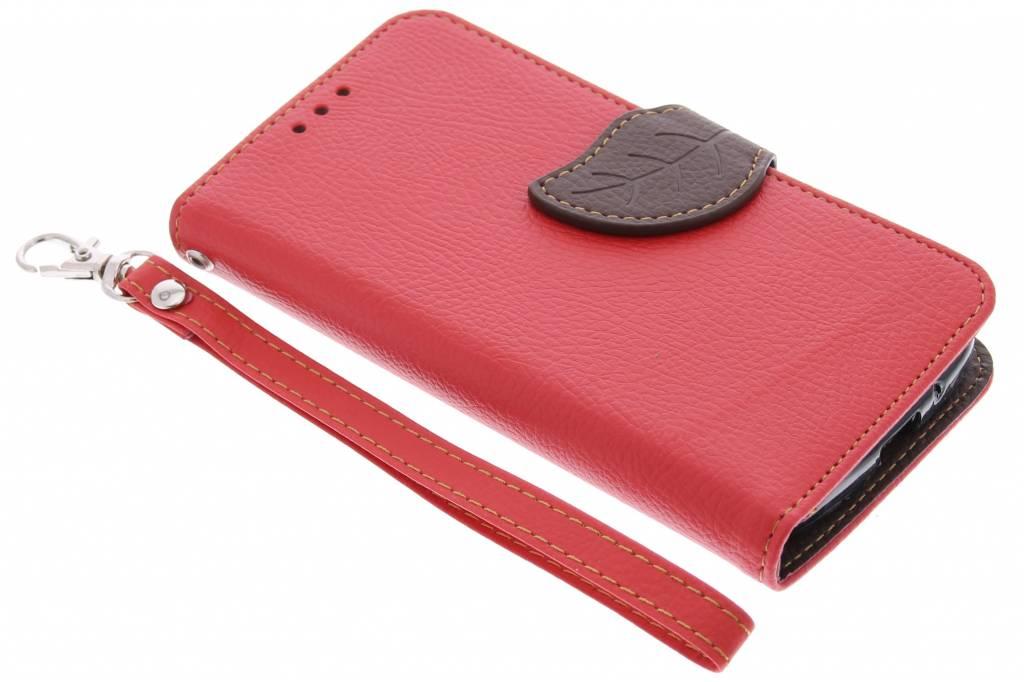 Rode blad design TPU booktype hoes voor de Motorola Moto G