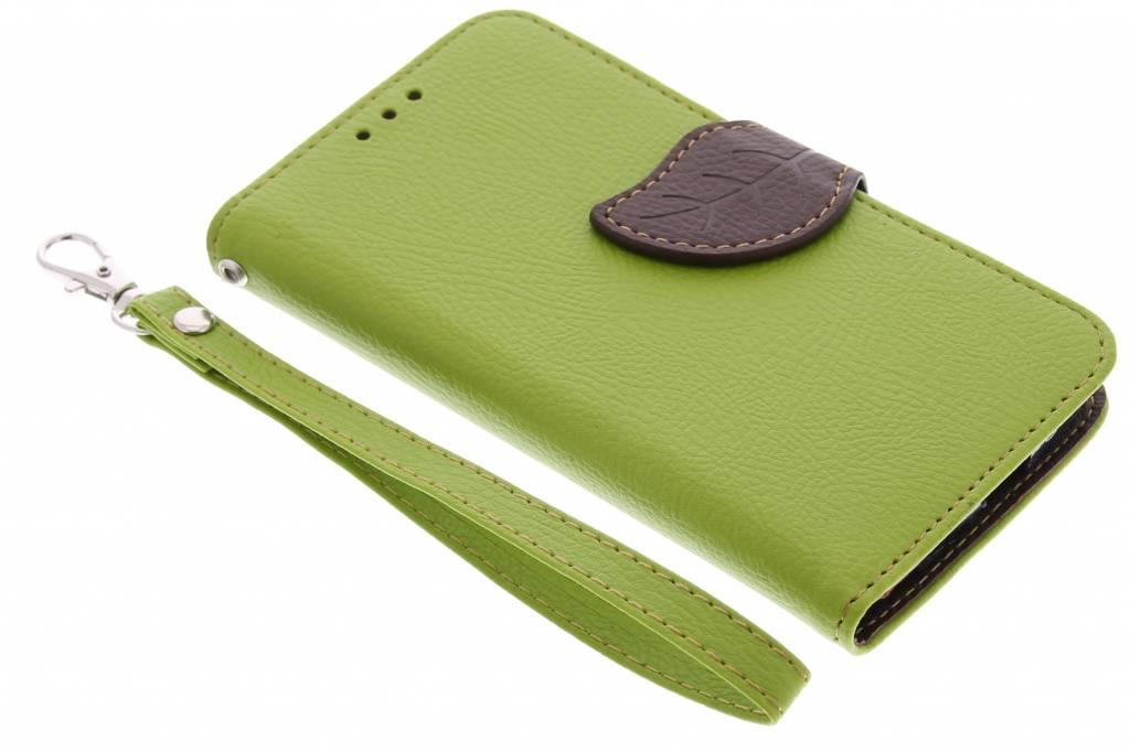 Groene blad design TPU booktype hoes voor de Motorola Moto G
