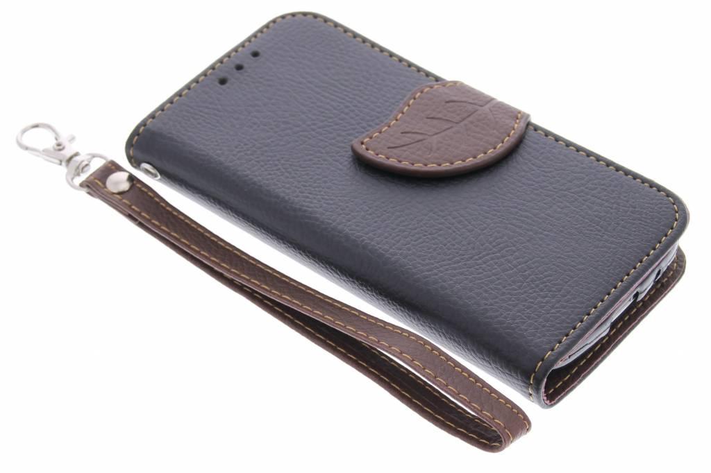 Zwarte blad design TPU booktype hoes voor de Samsung Galaxy S4 Mini